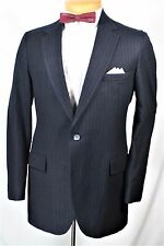 BLUE PINSTRIPE PLUSH WOOL 2 pc SUIT 38 40 L 32 x 29 GATSBY GANGSTER  MOD INDIE
