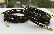 Fashion Gold Metal Tips Black Round Shoelace Sneakers Yeezy Sport Shoe Laces