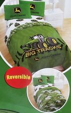 NEW! 4 Piece  John Deere Farm Boy Tractor Twin Size Camo Comforter Sheet Set