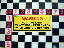 Period Radiator Fan Warning Sticker  MG Triumph Mini Jaguar Rootes Leyland TVR