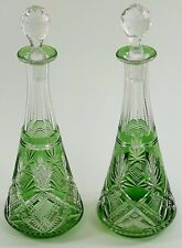ST LOUIS Crystal - Antique Pair of Green Flash Coloured Decanter - 10 1/2""