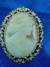ART DECO Beautiful Carved Shell 14k Gold Framed Cameo Pin Brooch Pendant   #1504