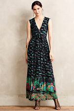 Anthropologie Maore Maxi Dress SP Small Petite Black Motif Plenty By Tracy Reese