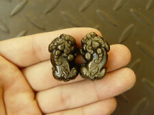 Pair Natural A Gold Obsidian Black Jade Pendant Chinese Dragon Pixiu amulet W44