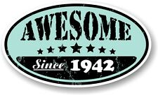 Distressed Aged Worn AWESOME SINCE 1942 Oval Retro Motorcycle Helmet car sticker