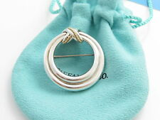 Tiffany & Co Silver 18K Gold Signature X Twisted Rope Brooch Pin!