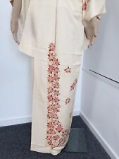 Authentic vintage handmade Japanese women's beige silk crepe kimono (F304)