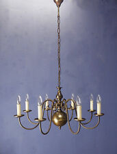 VINTAGE 1930s 1940s 1950s FLEMISH EIGHT ARM BRASS CHANDELIER
