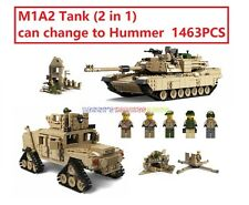 New USA M1A2 Tank w 5 Minifigures 2 In 1 Hummer Military Building Block 1463+PCS