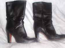 NINE WEST Black leather high heel shoes/boots zipper 7 1/2m calf hight pre-owned