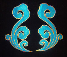 turquoise blue embroidery hotfix patch lace applique irish dance dress costume