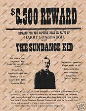 HARRY LONGBAUGH alias SUNDANCE KID OLD WEST WANTED REWARD POSTER Western 042