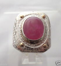 Genuine 9ct Ruby Cabochon 13x10 mm Handcrafted Sterling Silver 925 Ring skaisM15