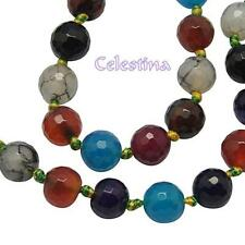 20 x Natural Agate Gemstone Faceted Round Dyed Mixed Colour Beads GB50