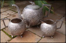 Antique Indian Kutch Solid Silver Teaset Top Quality Elephant Finial 1+kg