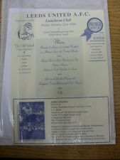 21/10/1994 Leeds United: Luncheon Club - At Elland road, Single Sheet Menu, Hand