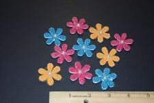 30 BURLAP DAISY FLOWERS CRAFTS SCRAPBOOKING EMBELLISHMENTS RED ORANGE BLUE