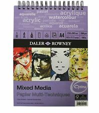Daler Rowney Mixed Media Pad A4 250gsm Spiral Bound 30 Sheets Drawing Painting