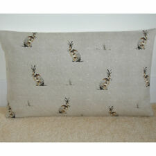 """20""""x12"""" Oblong Bolster Cushion Cover Fryetts Hartley Hare Natural Brown Beige"""