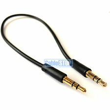 Slim 25cm SHORT 3.5mm Aux Jack Cable 24k Gold Connectors Car Audio Phone Lead