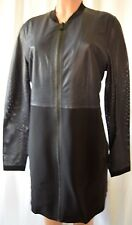 ELIE TAHARI Black/Navy Blue Perforated Lamb Leather  Front Zipper Jacket Coat L