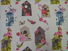 Clarke and Clarke Birdhouse Natural Birds Curtain Craft Upholstery Fabric