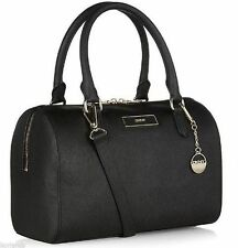 $295 DKNY Black Saffiano Leather Round Dome Structured Crossbody Satchel Bag