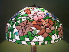 "Large 21"" Tiffany style stained glass lamp shade peony multi colored beautiful!"