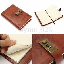 B6 Code Password Lock Leather Cover Journal Diary Notebook Vintage Brown Secret