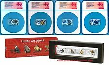Lunar Calendar 2016 Year of the Monkey 1oz Silver Proof 4-Coin Set NGC PF70 Coin
