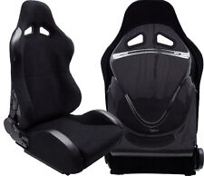 2 BLACK & CARBON LOOK BACK COVER RACING SEATS RECLINABLE FIT FOR ACURA NEW