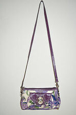 Kathy van Zeeland Shoulder Bag Print w/purple patent leather,zip close,Clean