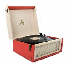 GPO Bermuda Retro-Styled Full Size Turntable With MP3 & USB Player In Red NEW