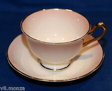 Royal Albert Bone China Teacup & Saucer Duo ☆ Blended Pink & Heavy Gold Gilt