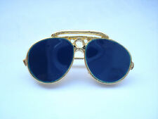 SALE RARE VINTAGE DESIGNER AVIATOR PILOT SUNGLASSES GOLD TONE PIN BADGE BROOCH