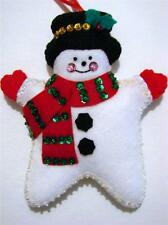 """HAND~CRAFTED 5 1/2""""  FELT STAR SNOWMAN SEQUINED CHRISTMAS ORNAMENT~NEW"""