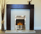 ELECTRIC WALNUT BROWN MANGO SURROUND CREAM WALL SILVER LED FIRE FIREPLACE SUITE