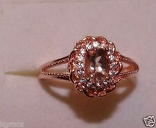 1.00 CTW  RG COR-DE-ROSA MORGANITE & ZIROCN FILIGAREE DEIGNER RING SIZE 8