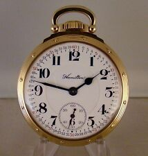 "ANTIQUE HAMILTON ""950"" 23j 10k GOLD FILLED OPEN FACE RAILROAD POCKET WATCH 1911'"
