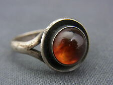 schöner alter Ring 925/-Silber Bernstein Dänemark From ca. 70er Jahre