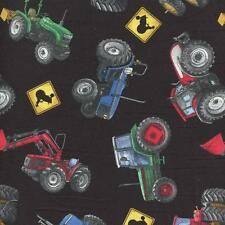 IN MOTION TRACTORS FARM EQUIPMENT ON BLACK Cotton Fabric BTY Quilting Craft Etc