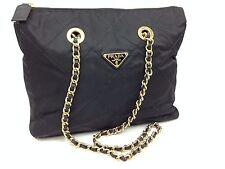 Auth PRADA Logos Quilted Chain Shoulder Bag Black   5L230450p
