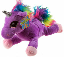 Purple Neon Rainbow 25cm Unicorn Soft Plush Cuddly Toy