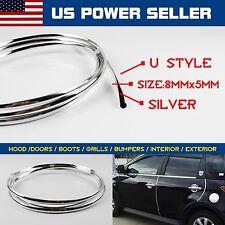 40ft Silver U Style Moulding Trim Car Door Air Vent Grille Rims Edge Guard Strip