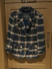 STYLISH GUESS JEANS BLUE AND BEIGE CHECK BLAZER/JACKET UK SIZE L (12) NWOT