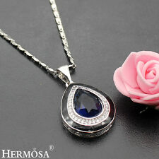 75% OFF Classy Hermosa Sterling Silver Sapphire Blue Topaz Gemstone Necklace 18""