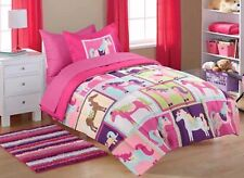 5pc PONY Twin-Single COMFORTER+SHAM+SHEETS SET Bed in a Bag Room HORSE Hot Pink