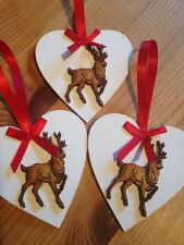 3 X Christmas Decorations Shabby Chic Rustic Nordic Reindeer Stag Wood Heart Red