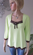 BIBA schickes Romantik - Shirt * mit brauner Spitze * helles kiwi Gr. 40 / 42