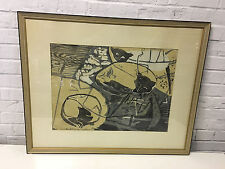 Vintage Modern Signed Abstract Print Titled Cats in the Greenhouse